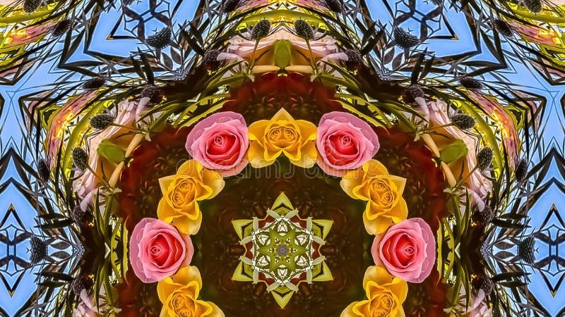 玫瑰全景框架小圈子在花卉设计显示的 免版税库存照片
