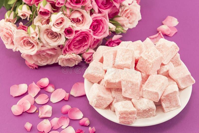 玫瑰可口土耳其快乐糖  图库摄影