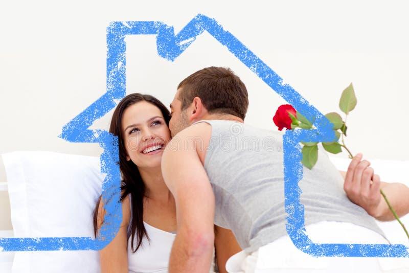 给玫瑰和亲吻的丈夫的综合图象他美丽的妻子 库存例证