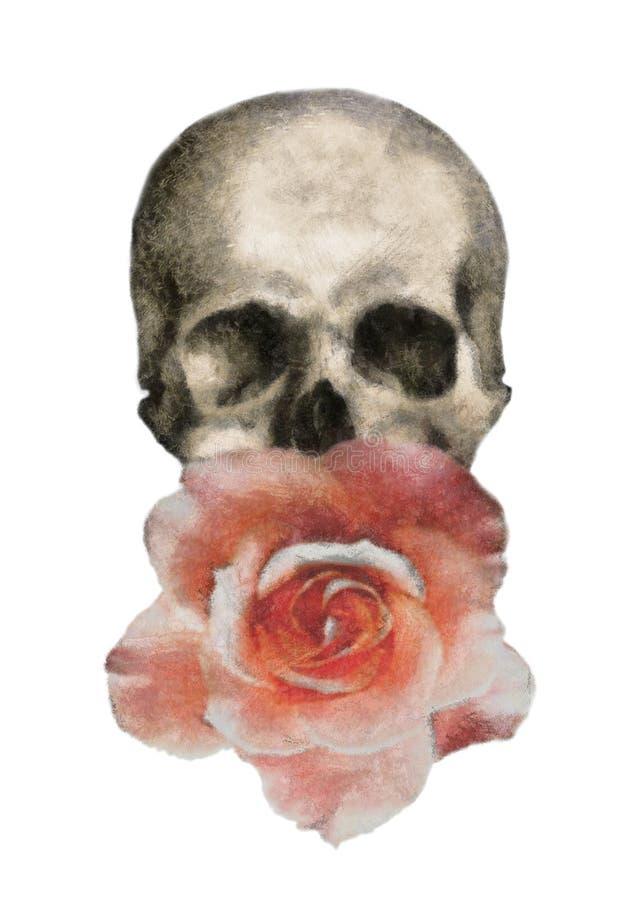 玫瑰和头骨T恤杉印刷品,'摇滚乐' 库存例证