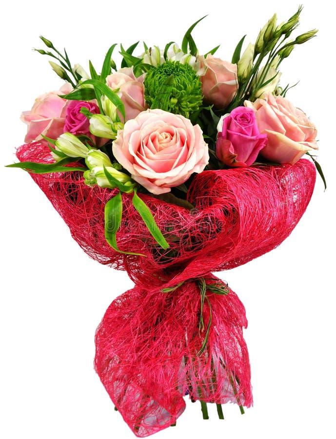 玫瑰和菊花花束 免版税图库摄影