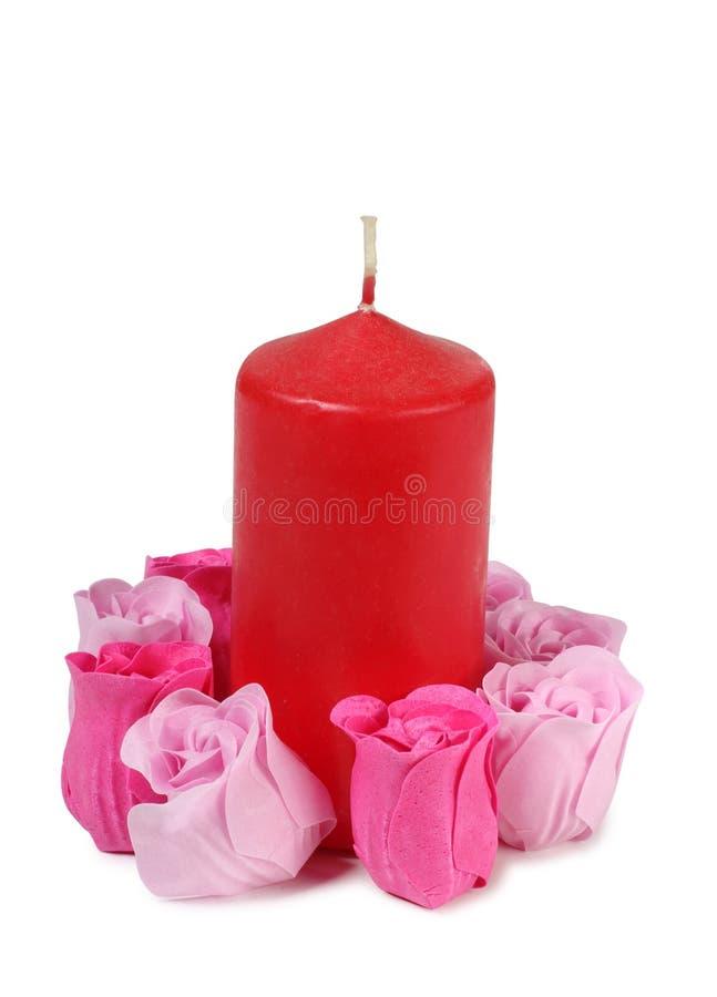 玫瑰和蜡烛 库存照片