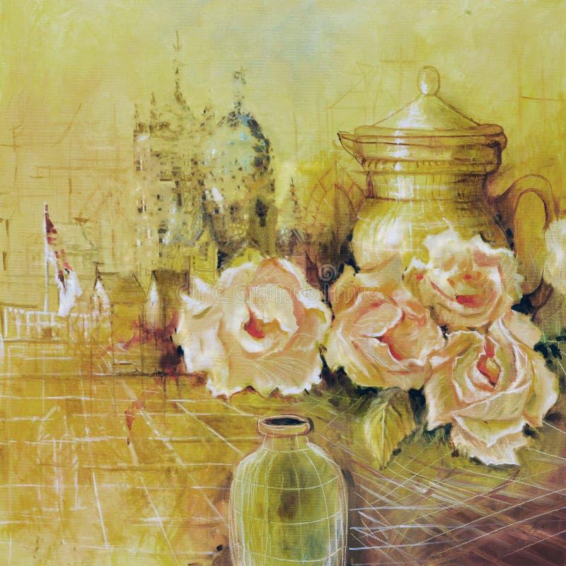 玫瑰和水罐 免版税库存照片