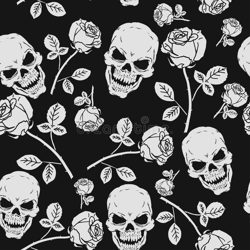 玫瑰和头骨无缝的样式 向量例证