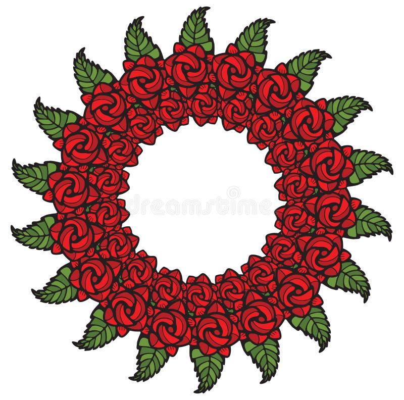 玫瑰在彩色玻璃样式的诗歌选装饰 皇族释放例证
