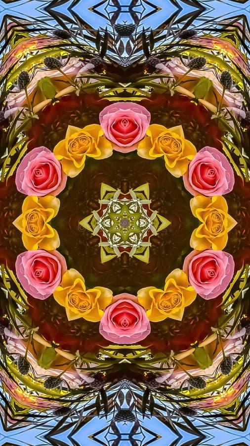 玫瑰垂直的小圈子在花卉设计显示的 皇族释放例证