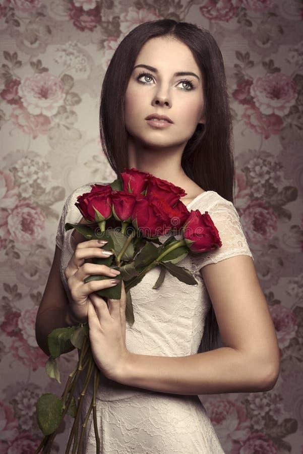 玫瑰妇女 免版税图库摄影