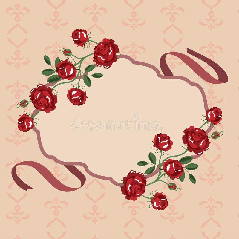 玫瑰开花框架传染媒介 皇族释放例证