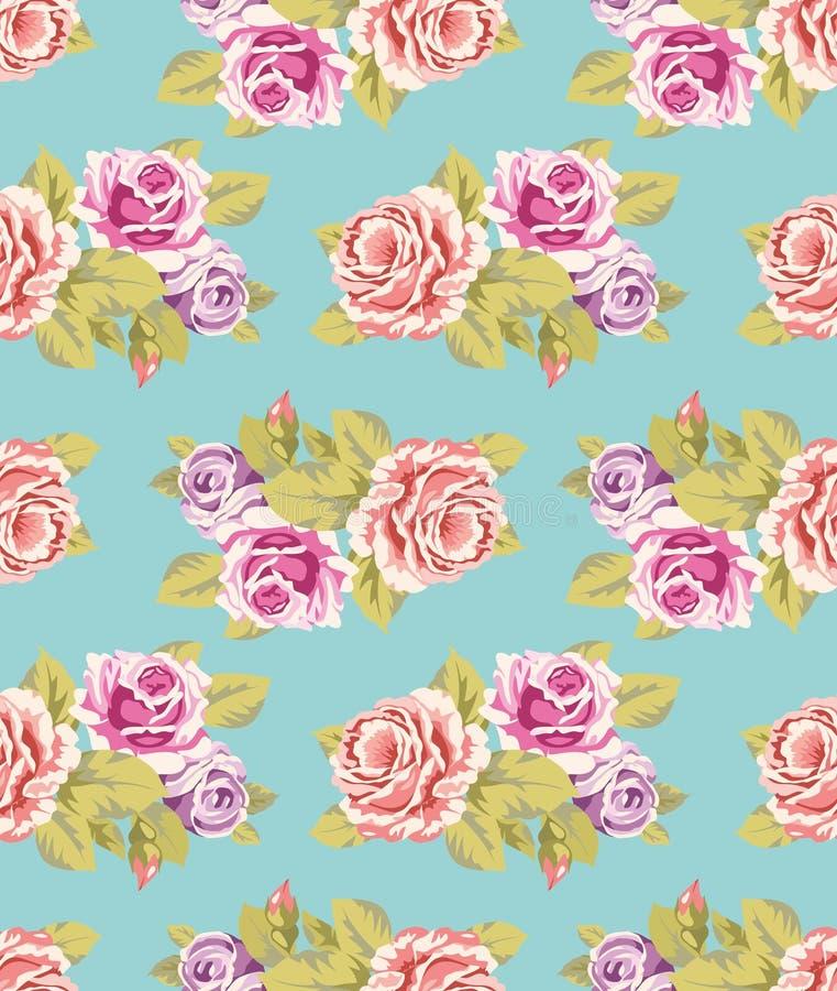 玫瑰无缝的墙纸 向量例证