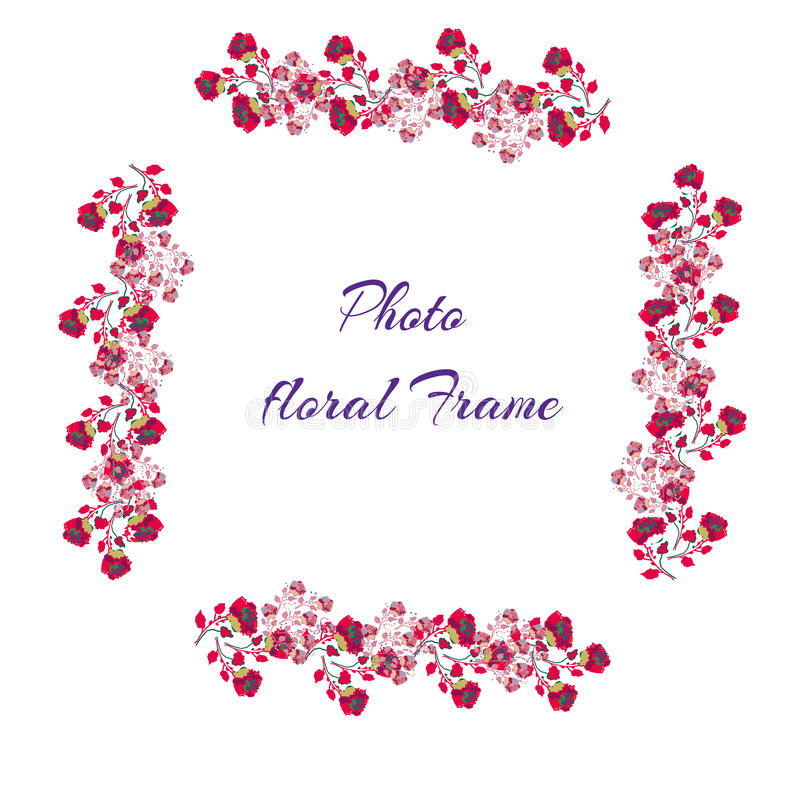 玫瑰照片框架,桃红色,动画片样式,传染媒介 库存例证