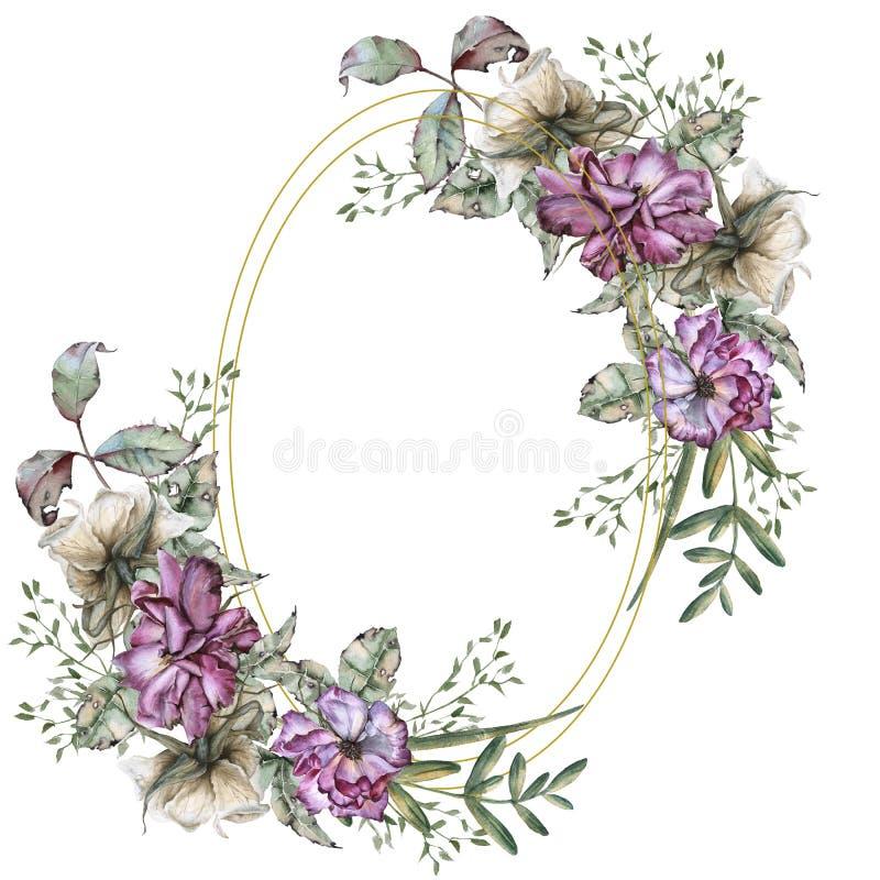 玫瑰的构成与野花的 背景查出的白色 皇族释放例证