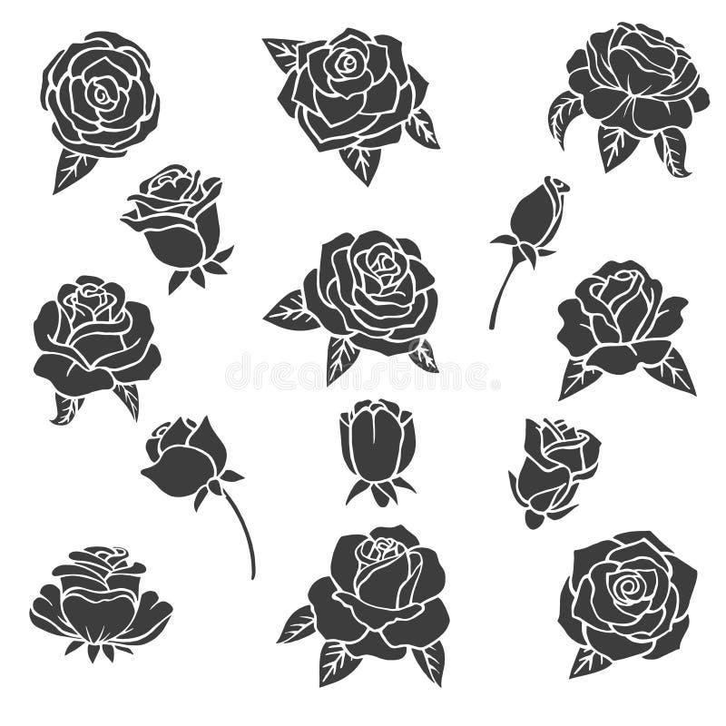 玫瑰的黑例证 不同的植物传染媒介剪影  向量例证