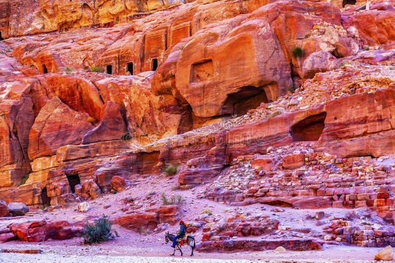 驴玫瑰红的岩石坟茔下午街道门面Petra约旦 免版税库存照片