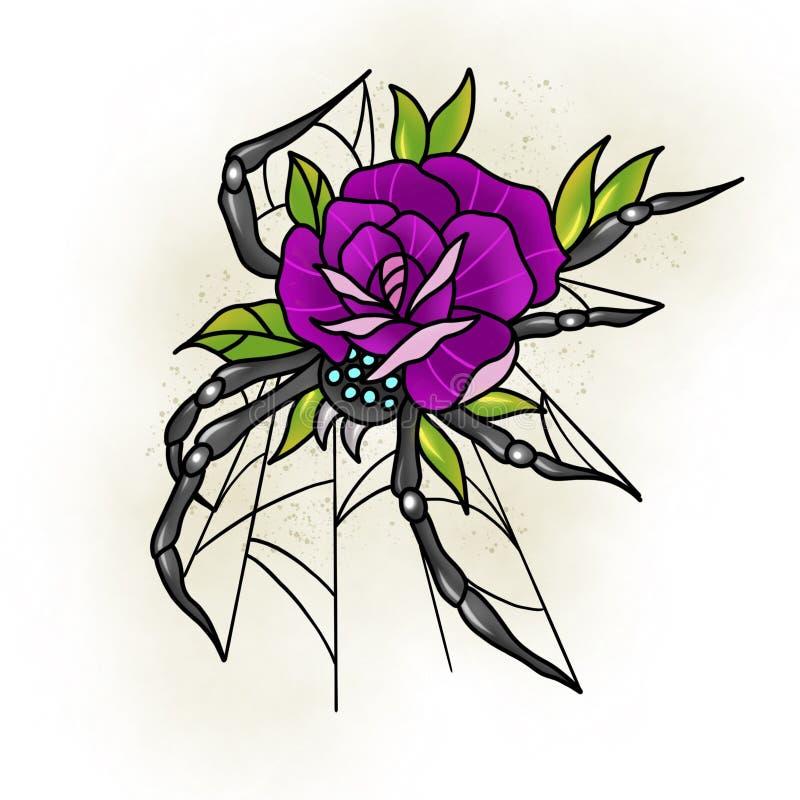 玫瑰色传统的纹身花刺和蜘蛛设计图片