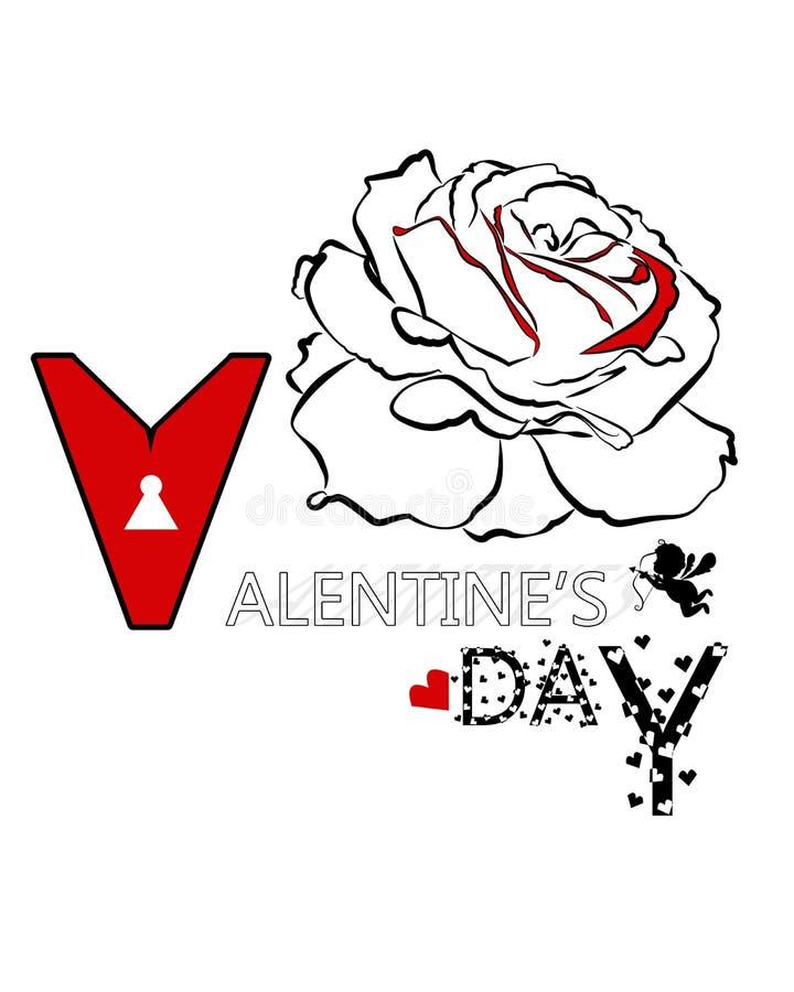 玫瑰色和丘比特传染媒介卡片设计线为情人节 皇族释放例证