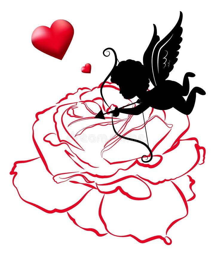 玫瑰色和丘比特传染媒介卡片设计线为情人节 向量例证