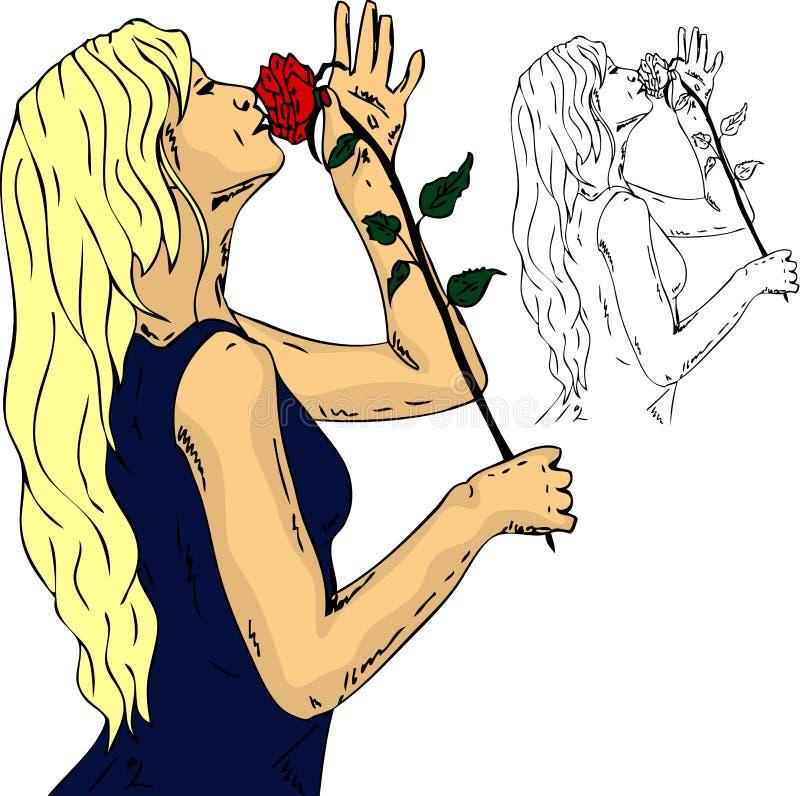 玫瑰色妇女 皇族释放例证