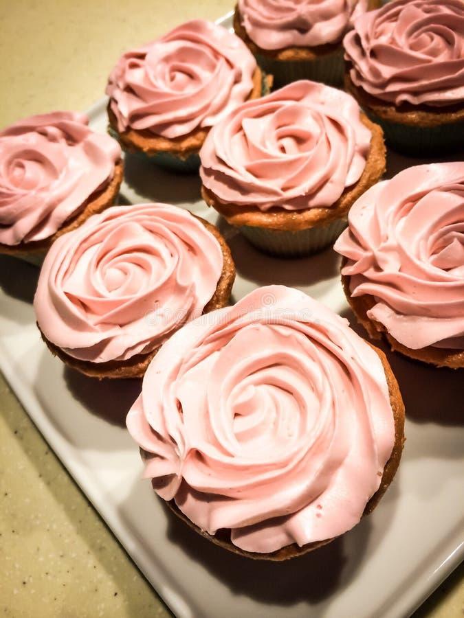 玫瑰色杯蛋糕 库存图片