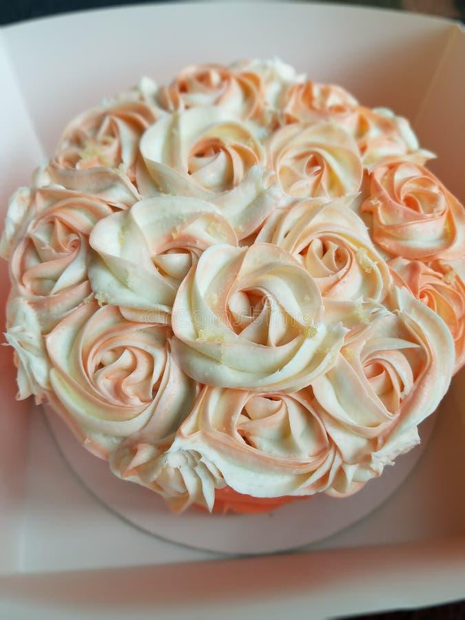 玫瑰色珊瑚蛋糕 图库摄影
