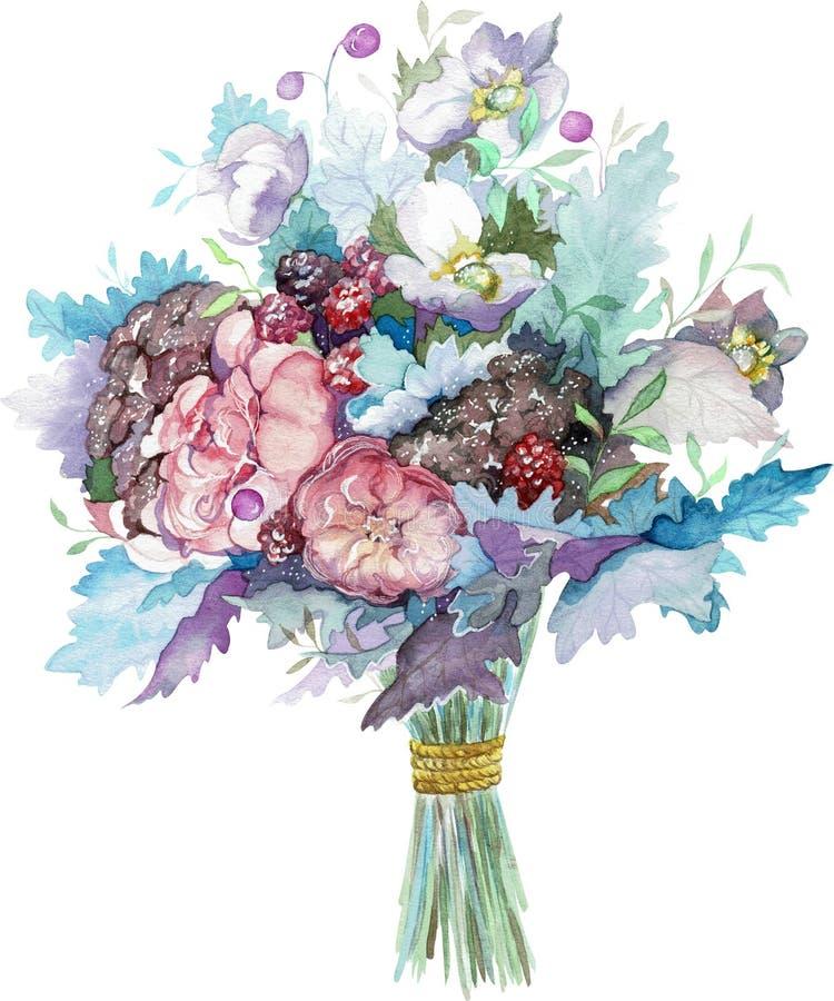玫瑰色花水彩花束用红色莓果和蓝色叶子 拉长的表面现有量例证s妇女 向量例证