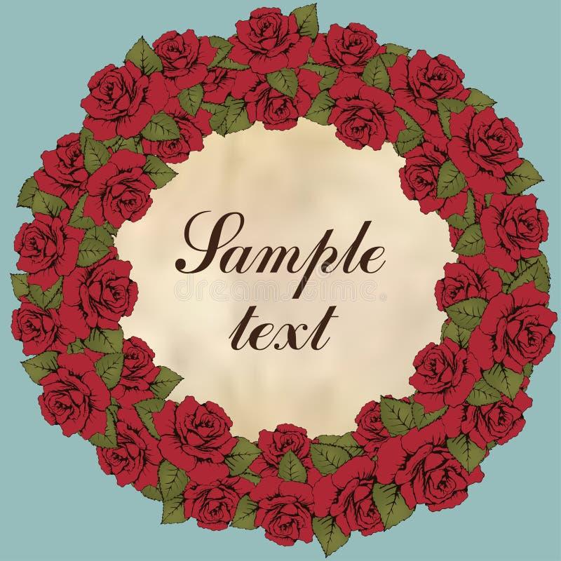 玫瑰色花,花诗歌选葡萄酒圆的框架  红色花蕾、叶子和标签花圈文本的,蓝色背景 illus 向量例证