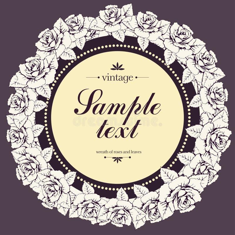 玫瑰色花,花诗歌选,横幅葡萄酒圆的框架  白花花圈发芽和叶子和标签文本的 illustrat 库存例证