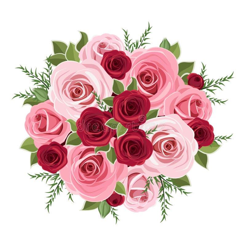 玫瑰花束。 库存例证