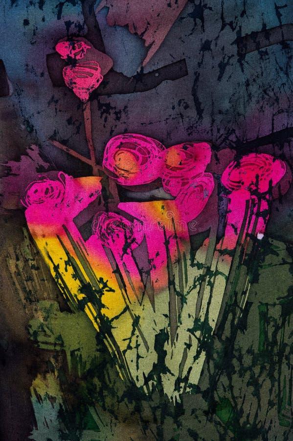 玫瑰花束,热的蜡染布,背景纹理,手工制造在丝绸 向量例证