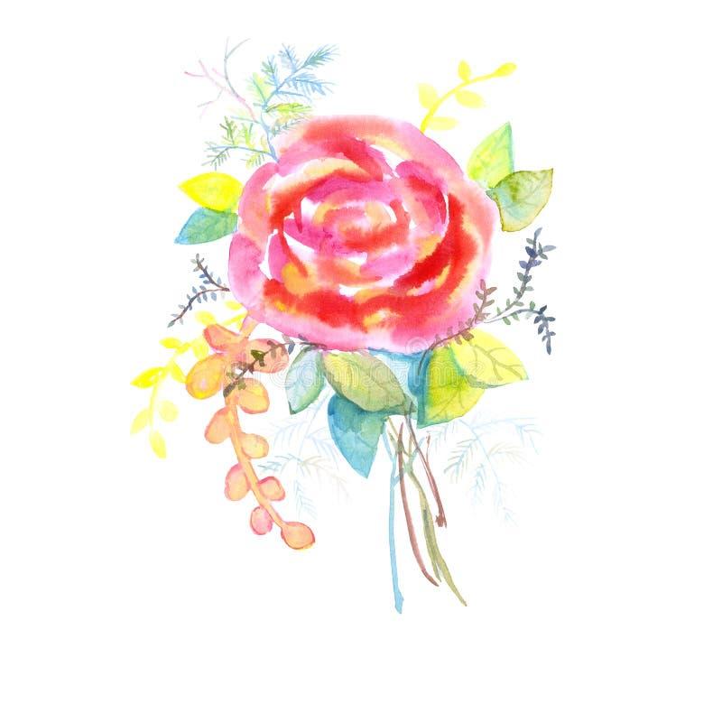 玫瑰花束,水彩,可以使用当贺卡、邀请卡片为婚姻,生日和其他假日和夏天bac 皇族释放例证