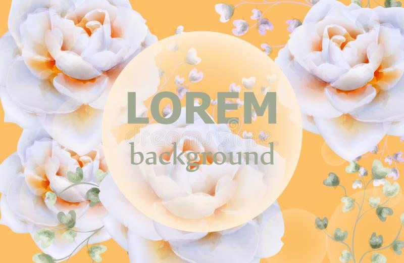 玫瑰花水彩装饰葡萄酒黄色海报传染媒介 美好的花卉横幅模板 库存例证