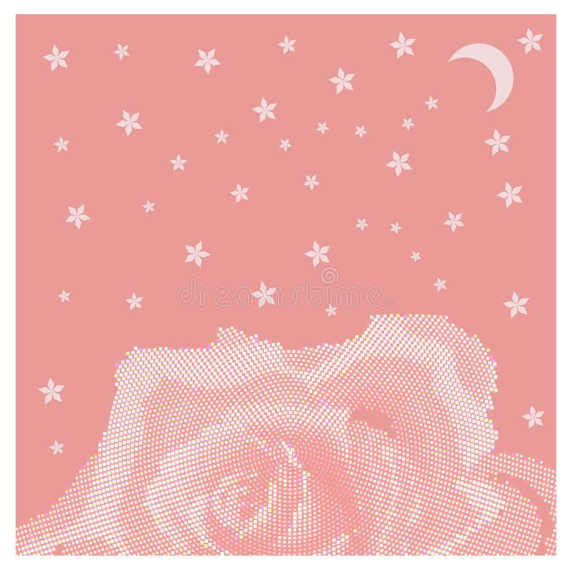 玫瑰花瓣在桃红色背景的花壳 库存例证