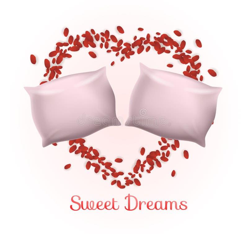 玫瑰花瓣心脏框架的枕头里面夫妇  库存例证