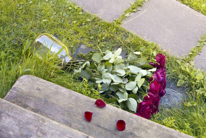 玫瑰被放弃的花束  免版税库存照片