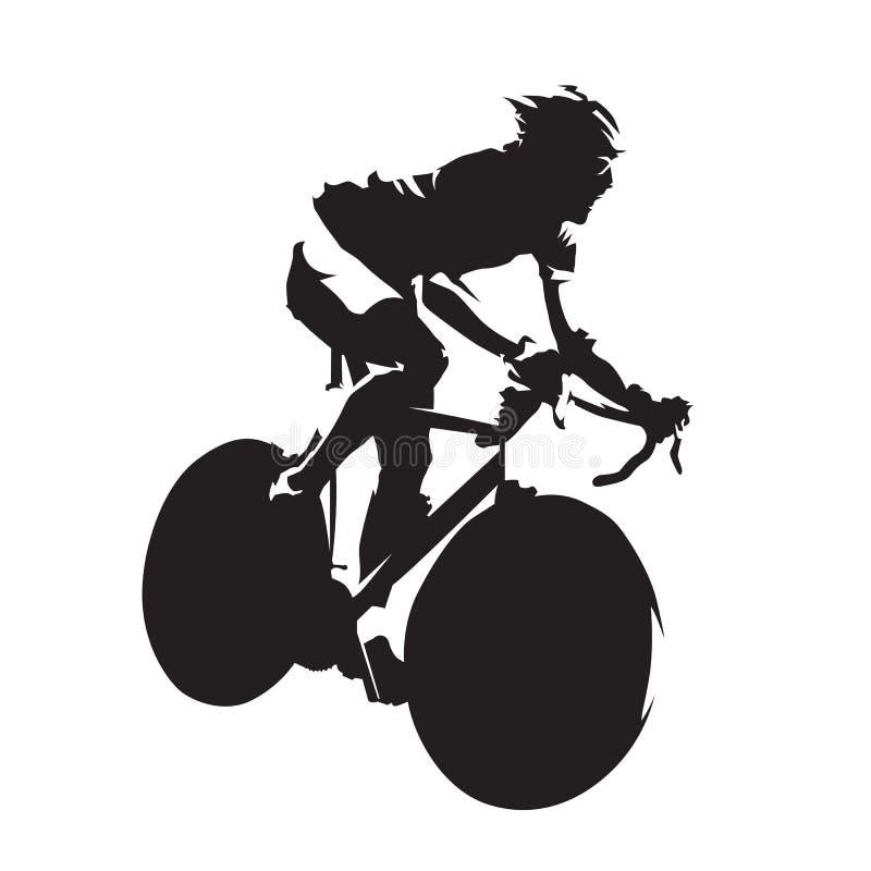 环公路比赛,骑自行车者传染媒介剪影 皇族释放例证
