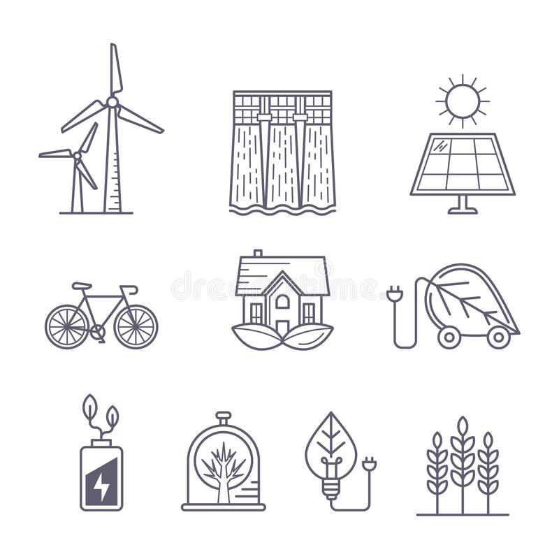 环境、生态、生态系和绿色技术的概念 皇族释放例证