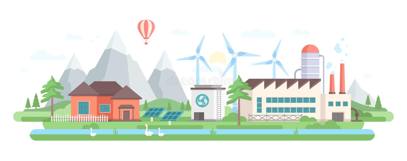 环境友好的工厂-现代平的设计样式传染媒介例证 库存例证