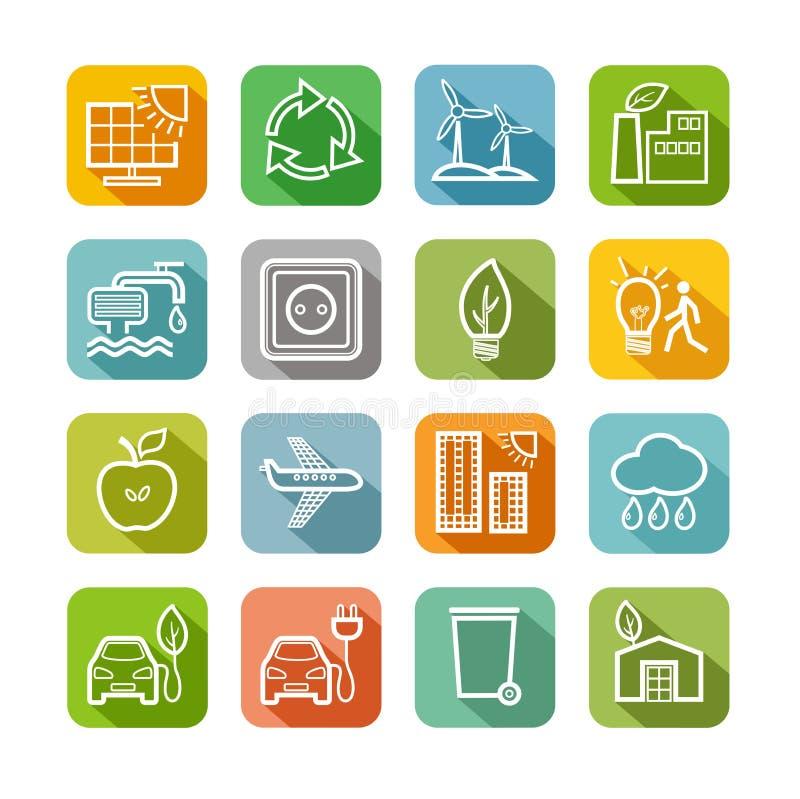 环境友好的技术,象,颜色,线描,集合,传染媒介 库存例证