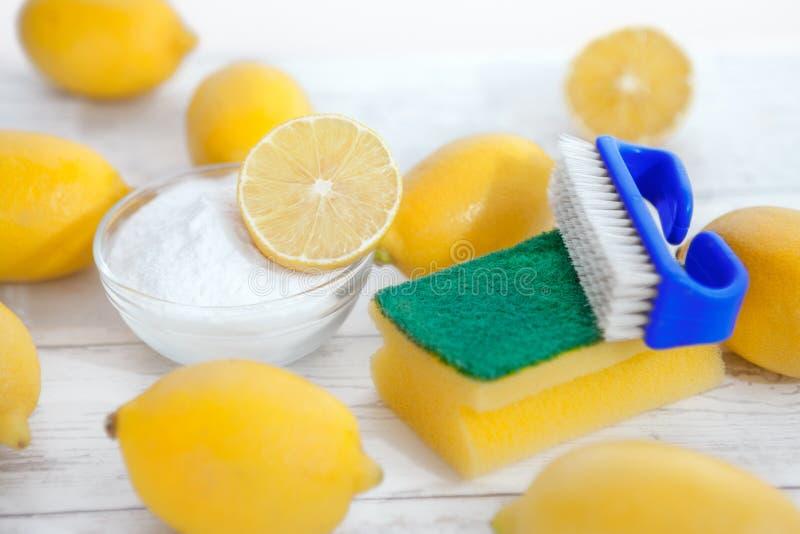 环境友好的擦净剂、柠檬和发面苏打 免版税库存照片