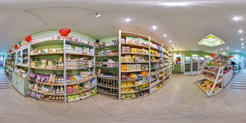 环境商店内部用食物和冰箱 3D有360度视角的球状全景 为在vr的虚拟现实准备 免版税库存图片