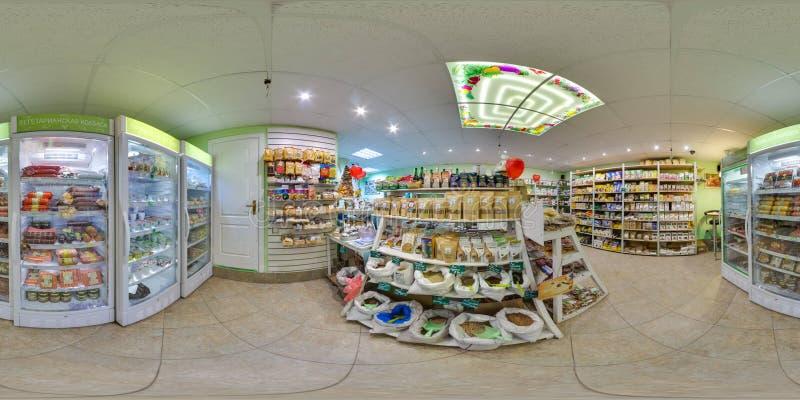 环境商店内部用食物和冰箱 3D有360度视角的球状全景 为在vr的虚拟现实准备 图库摄影