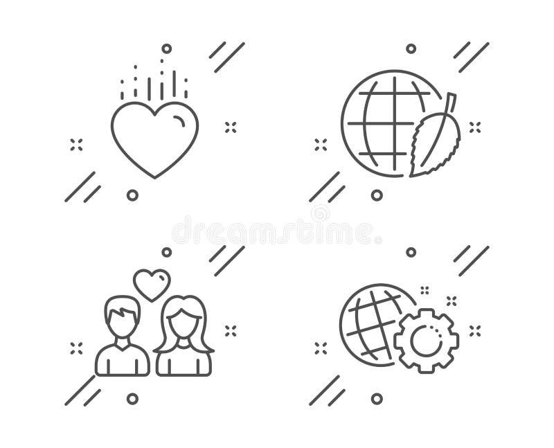 环境天,结合爱和心脏象集合 Seo齿轮标志 安全世界,爱的人们,网设置 ?? 皇族释放例证