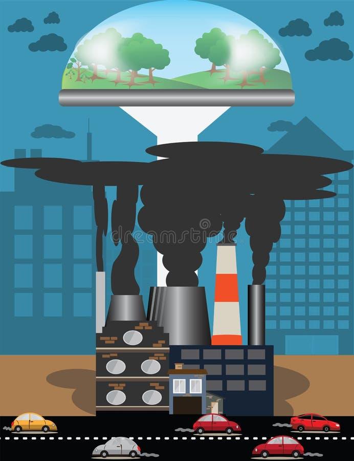环境概念,大气污染从交通和今后, h 库存例证