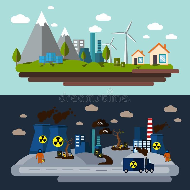 环境污染横幅集合 向量例证