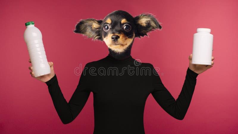 环境污染的概念由塑料的 结合妇女和狗头的拼贴画 一个哀伤的字符对负塑料 免版税图库摄影
