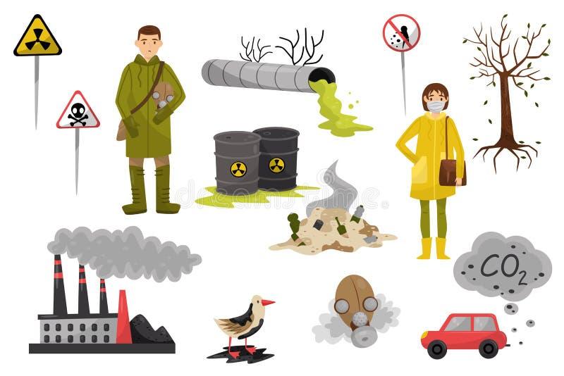 环境污染问题设置,空气的污染,并且水,砍伐森林,警报信号导航在a的例证 库存例证