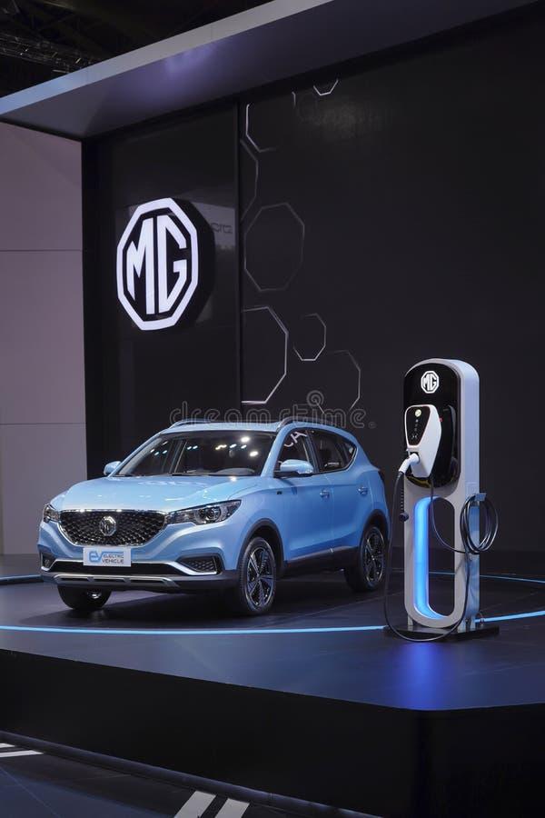 环境的MG EV插入式杂种电动车技术在第40个曼谷国际汽车展示会的显示2019年 免版税图库摄影