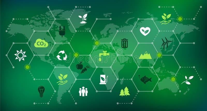 环境知觉/环境挑战例证 库存例证