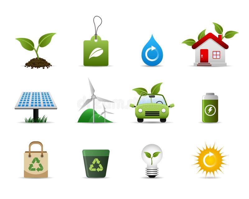 环境绿色图标 向量例证