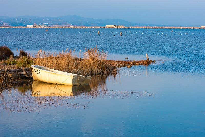 环境美化与在埃布罗三角洲的一条小船,塔拉贡纳, Catalunya,西班牙 复制文本的空间 免版税图库摄影