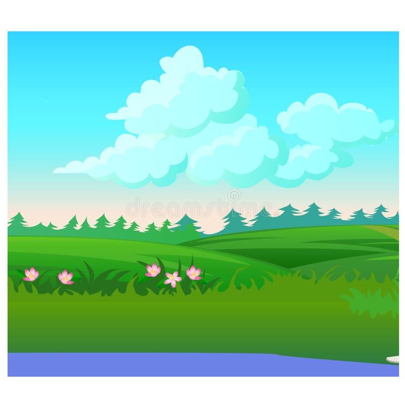 环境美化与天际和开花的草甸的具球果森林 传染媒介动画片特写镜头例证 皇族释放例证